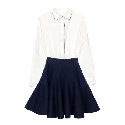 67d64fe5 ... lined shirt blouse & side zip-up flare skirt